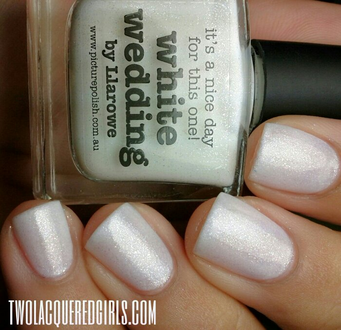 white wedding is a beyond gorgeous white based polish that sparkles rainbows i used three coats and maybe next time i will use a white base coat in order